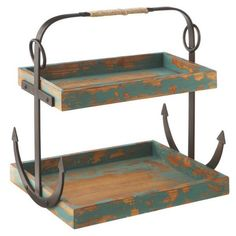 """Anchor Two Tier Caddy Shabby nautical chic two tier caddy with a distressed vintage finish. Made of MDF. Dimensions: 15""""L x 7.875""""W x 15.754""""H Item number: 108757"""