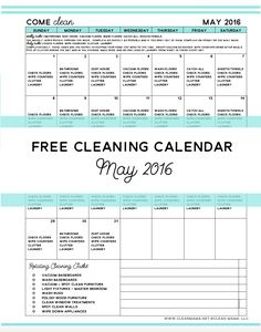 The ideal cleaning routine for any schedule and it's FREE! Come Clean - Free Cleaning Calendar for May 2016 - Clean Mama