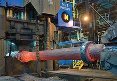 Lehigh Heavy Forge 02 - A ship's shaft is forged on the 10,000-ton press.