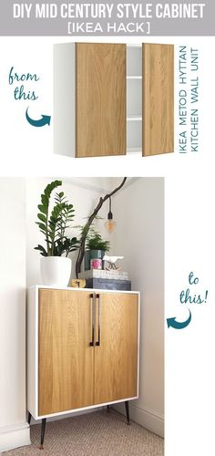 DIY Mid Century Style Cabinet IKEA Hack by Arty Home