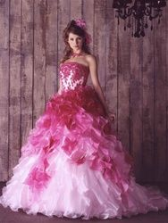 Gorgeous Pink Wedding Dress made with luxurious layers of Organza. This Pink Wedding Dress is fully customizable.  check it out at http://www.weddingdressfantasy.com/product_p/cp300.htm