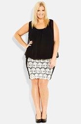 City Chic Crochet Lace Blouson Dress (Plus Size)