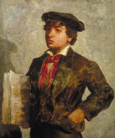Title:	        Newspaper Boy  Artist:	Edward Mitchell Bannister  Owner:	Smithsonian American Art Museum  Country of Origin:	United States of America  Date of Creation:	1869 AD  Tagged With:	N/A  Jigsaw Puzzle	Click Here to Play