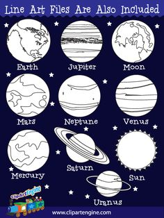 Planets Clip Art Collection by Clip Art Engine Solar System Projects For Kids, Solar System Crafts, Solar System Planets, Science Projects, School Projects, Planet Crafts, All Planets, Galaxy Planets, Space Classroom
