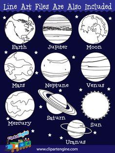 The royalty free vector graphics included are Mars, Saturn, Mercury, Uranus, Neptune, Jupiter, Venus, Earth, Moon, and the Sun.