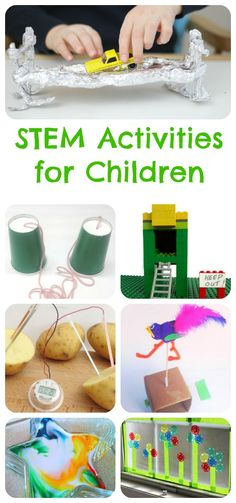 STEM Activities For Children (Tuesday Tutorials) Children's STEM activities. Fun science, technology, engineering and math activities for kids. Stem Science, Kindergarten Science, Science Lessons, Teaching Science, Science For Kids, Science Experiments, Science And Technology, Science Ideas, Summer Science