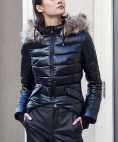Black Quilted Tart Down-Blend Puffer Coat #zulily #zulilyfinds