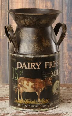 New Country Primitive Farmhouse Fresh Dairy Milk Can Brown Cow Bucket Pail Cow Kitchen, Primitive Kitchen, Country Primitive, Kitchen Country, Country Living, Kitchen Decor, Country Crafts, Country Decor, Rustic Decor