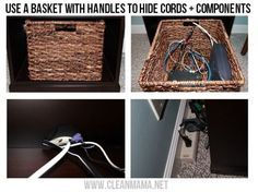 Use a basket with handles to hide cord + components - via Clean Mama Office Organizing Hide router Hide Tv Wires, Hide Cables, Hiding Cords, Hide Electrical Cords, Hiding Computer Cords, Hide Cable Box, Cord Storage, Cord Organization, Storage Hacks