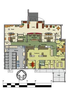 Veterinary floor plan: Pet Paradise Animal Hospital Source by Hospital Floor Plan, Hospital Plans, Pet Hospital, Dog Boarding Kennels, Pet Boarding, Pet Paradise, Dog Grooming Salons, Shelter Design, Pet Clinic