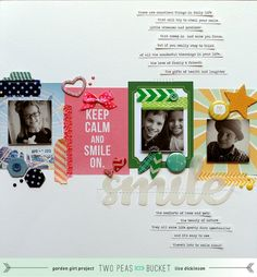 Seeing Double: Smile - Two Peas in a Bucket #scrapbooking#scrapbooklayout