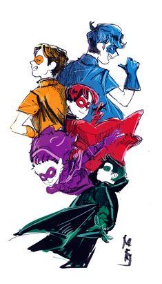 Robins! Dick Grayson, Jason Todd, Tim Drake, Stephanie Brown, and Damian Wayne.