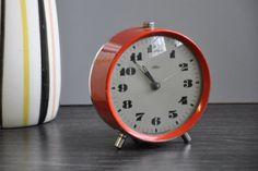 Vintage Prim Mid Century Red Alarm Clock by RetroManiaEU on Etsy