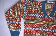 Fair Isle jumper from Shetland Museum Knitwear Collection. Shetland label at neck. Tex 1990 - 541.