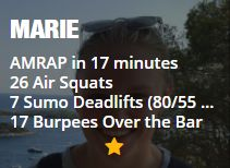 AMRAP in 17 minutes 26 Air Squats 7 Sumo Deadlifts (80/55 kg) 17 Burpees Over the Bar