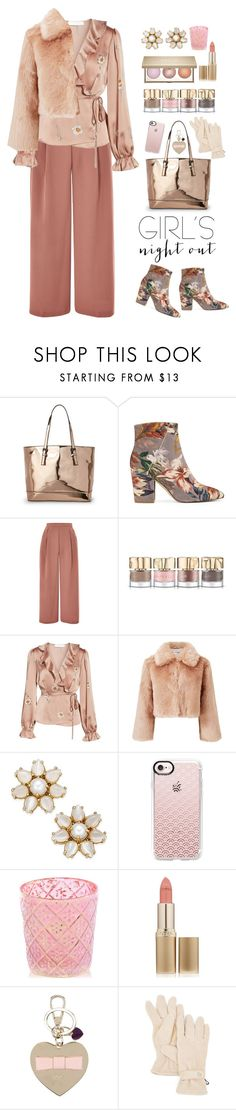 """paint the town pink"" by collagette ❤ liked on Polyvore featuring Urban Expressions, Nine West, Topshop, Smith & Cult, Astr, Miss Selfridge, Kate Spade, Casetify, Shiraleah and L'Oréal Paris"