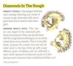 Champagne Bubble rough diamond studs as featured in In Design Magazine.