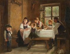 """""""Weinender Junge beim Mittagsmahl in der Bauernstube"""". August Heyn (1831-1920) German painter."""