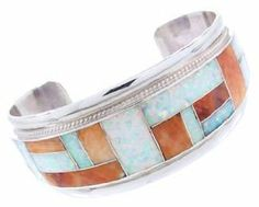 Oyster Shell And Opal Zuni Indian Sterling Silver Cuff Bracelet MW67680 SilverTribe. $249.99