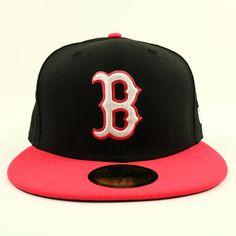 b31878cd8d6 Boston Red Sox Unisex Cap New Era Black Red Baseball Hat MLB Size 7 3 8  Fitted  NewEra  BostonRedSox