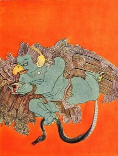 Garuda the half-bird-half-man vehichle of Vishnu. By Nandalal Bose (from Myths of the Hindus and Buddhists, 1914).