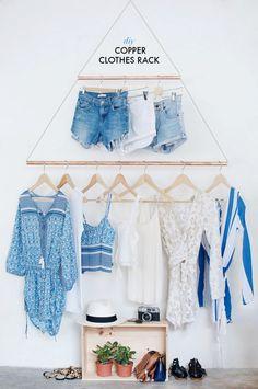 DIY perchero pared para tienda de ropa : via La Garbatella