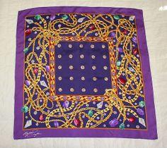 Large Vintage Designer Elizabeth Taylor Radiant Orchid Purple Jeweled Gold Chain Silk Scarf  #vintagescarf #radiantorchid #streetstyle #streetglam #coachella #elizabethtaylor #buttonitupvintage