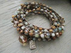 Beachy long crochet 8x wrap bracelet 3x wrap by slashKnots on Etsy