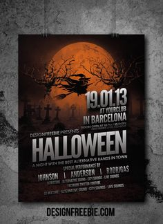 Awesome Halloween Party Flyer design Template. Free Flyer Design, Flyer Design Templates, Flyer Template, Halloween Party Flyer, Halloween Poster, Club Flyers, Typography, Layout, Graphic Design