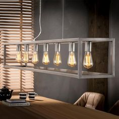 Industriële Hanglamp 'Terrance' - All For House İdeas Funky Lighting, Track Lighting, Cage, Square Chandelier, Modern Lamp Shades, Kitchen Ceiling Lights, Large Lamps, All Of The Lights, Retro Lamp