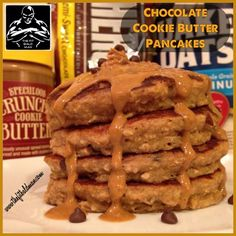 chocolate cookie butter pancakes - THE FIT BALD MAN