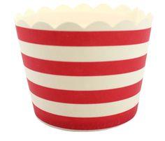 Horizontal Red Stripe Cupcake Case