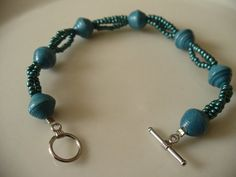 Blue Paper Bead Bracelet with Blue Glass Seed Beads by PaperGemma, $9.99