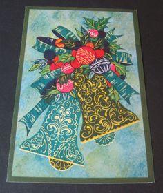 Used-Vtg-Christmas-Card-Christmas-Bells-w-Ornaments-amp-Bows