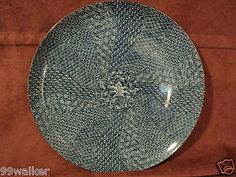 "Kozangama Maebata Minoyaki Japan ART Pottery Blue AND White Plate 12 1 2"" Mint 