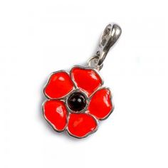 Hand Painted Silver and Amber Poppy Pendant with Silver Chain CH6/025