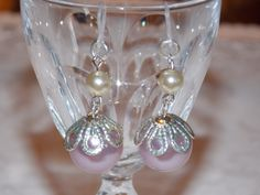 Purple Pearl Dangle earrings with Plastic french by mbrodecki, $8.00