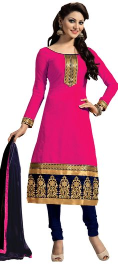 451184: Pink and Majenta color family unstitched Party Wear Salwar Kameez .