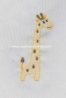 Sweet & sill giraffe! Fun for baby day gown, slip, collar, pocket, etc.