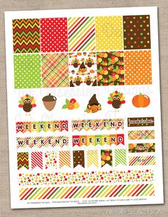 Thanksgiving Planner Stickers Set Instant Download DIY Printable PDF with Checklists Weekend Banners