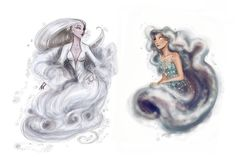 Sky nymphs:  Chione was the daughter of Boreas, the North Wind who brings winter, and Orithyia, a poor princess who was abducted. She had a son with Poseidon who she tried to protect casting him into the sea Nephele was created by Zeus to trick Ixion Also, in other tale Nephele is married to a man, Athamas, who divorces her for Ino. Nephele had a boy and a girl, Phrixus and Helle, whom Ino hated. She tries to get rid of them but Nephele sent a golden ram in their rescue.