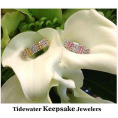 Diamond bands with yellow and pink sapphires. #diamondbands
