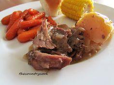 Crock Pot Pot Roast:  3-4 pound beef chuck roast  1 packet ranch dressing mix  1 packet brown gravy mix  1 packet Italian dressing mix  1 tbsp. dried chopped onions  2 cups water