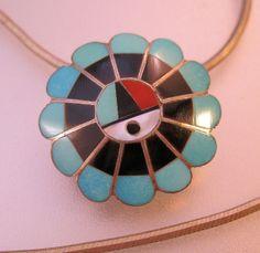 Vintage ZUNI Sun Pendant Brooch Necklace by BrightEyesTreasures, $59.00