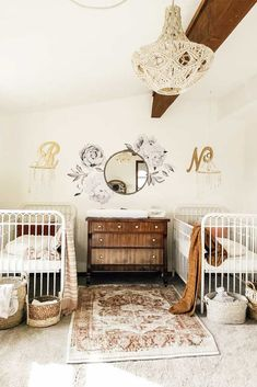 27 Gorgeous Nursery Ideas To Bring Up Your Baby With Taste For Style - Vintage Nursery Idea For Twin Girls ★ Colorful and simple nursery id - Girl Nursery Themes, Nursery Twins, Nursery Room, Nursery Ideas, Baby Twins, Boho Nursery, Vintage Nursery Girl, Vintage Girls Rooms, Elephant Nursery