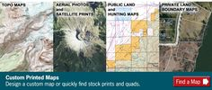 Custom printed topo maps and aerial photos for geo-caching, rock & fossil hunting, etc. Make Your Own Map, Fossil Hunting, Satellite Maps, Search And Rescue, Map Design, Custom Map, Topographic Map, Cartography, Natural Disasters