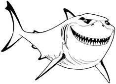 How to Draw Bruce from Finding Nemo with Simple Steps Lesson - How to Draw Step by Step Drawing Tutorials