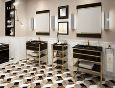 Nella Vetrina A1 High End Italian Bathroom Vanity Black Glass Gold Frame