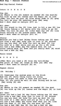 Song Bad Day by Daniel Powter, song lyric for vocal performance ...