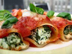 cannelloni gevuld met spinazie en ricotta